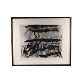 "1986 Herbert C. Cassill ""The Iron Boats"" Mixed Media Abstract Painting / Print For Sale"