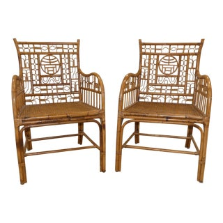 Century Chair Company Chinese Chippendale Bamboo/Rattan Armchairs - a Pair
