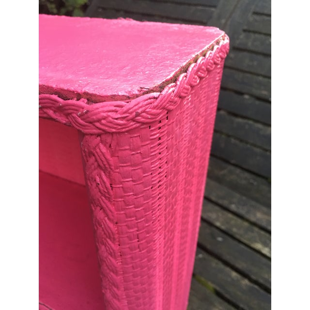 1950s 1950s Shabby Chic Hot Pink Wicker Shelf For Sale - Image 5 of 10