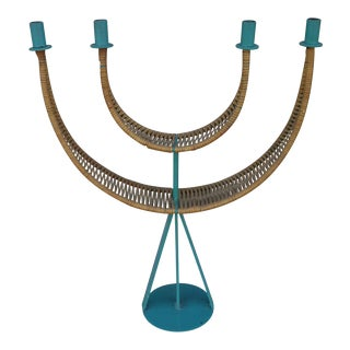 Arthur Umanoff Candelabrum in Teal For Sale