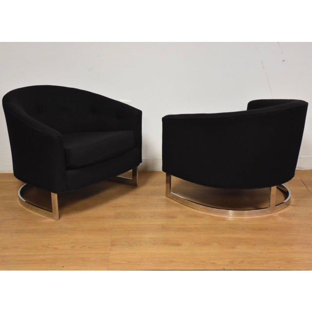 Black & Chrome Barrel Back Lounge Chairs- a Pair For Sale - Image 11 of 11