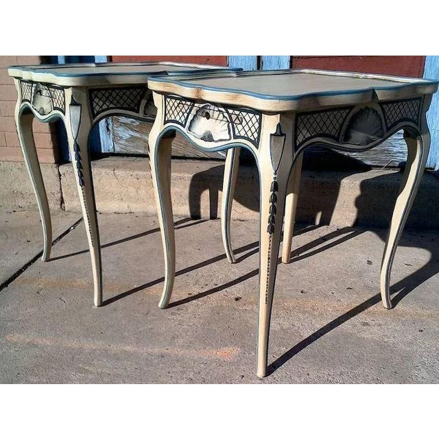 Alabaster Tea Tables With French Style Paint Cabriole Legs and Candle Slides - a Pair For Sale - Image 8 of 11