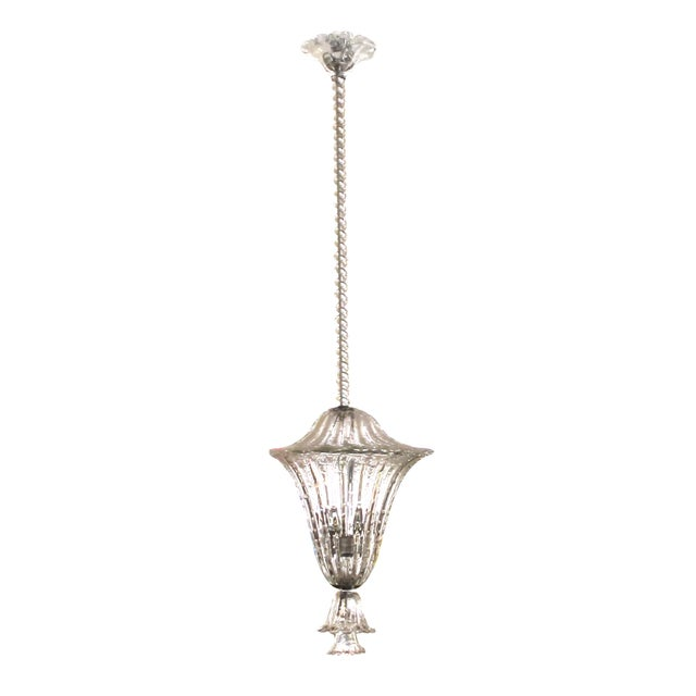 A large and superb quality Murano mid-century clear glass bullicante lantern/pendant light by Seguso For Sale In San Francisco - Image 6 of 6