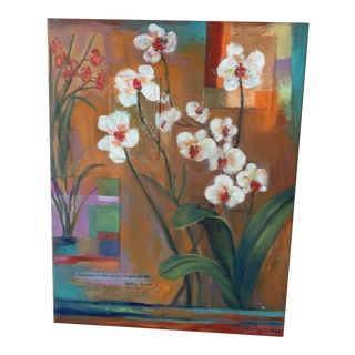 "(Final Markdown) Original Painting Collage Signed Adler Botanical Eclectic Array ""Orchids"" Poem For Sale"