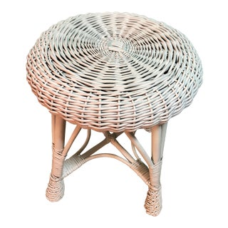 1950s Vintage Wicker Rattan Stool For Sale
