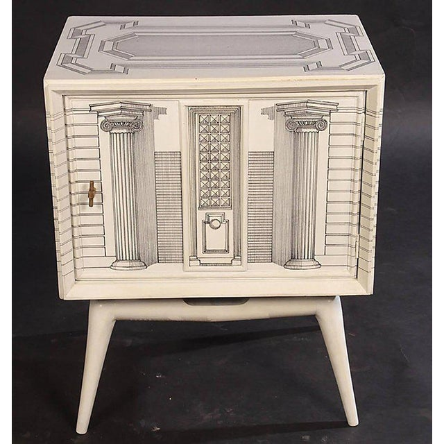 Italian Pair of Architectural Hand Painted End Tables For Sale - Image 3 of 7