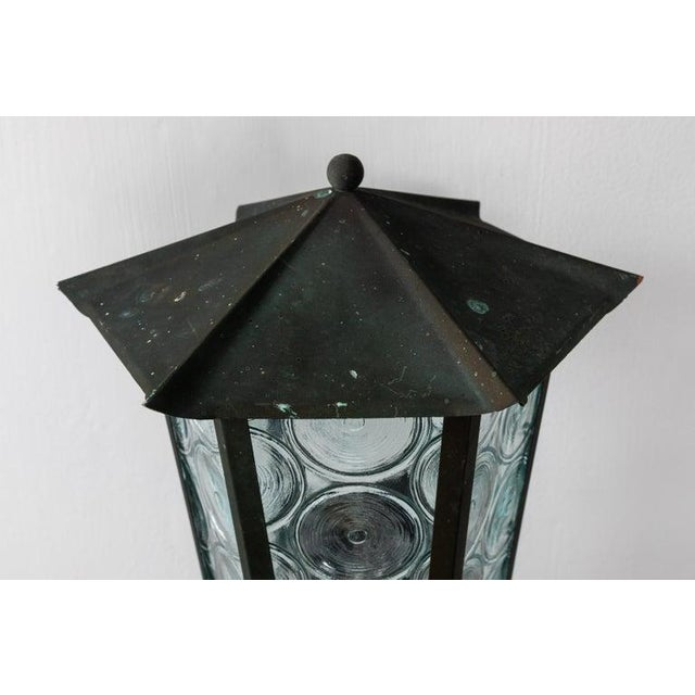 1950s Large Scandinavian Outdoor Wall Lights in Patinated Copper and Glass - a Pair For Sale - Image 11 of 13