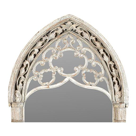 Vintage carved old arched window mirror with white wash finish and patina. Beautiful carving and details with scroll...