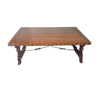 Vintage Spanish Style Trestle Coffee Table For Sale