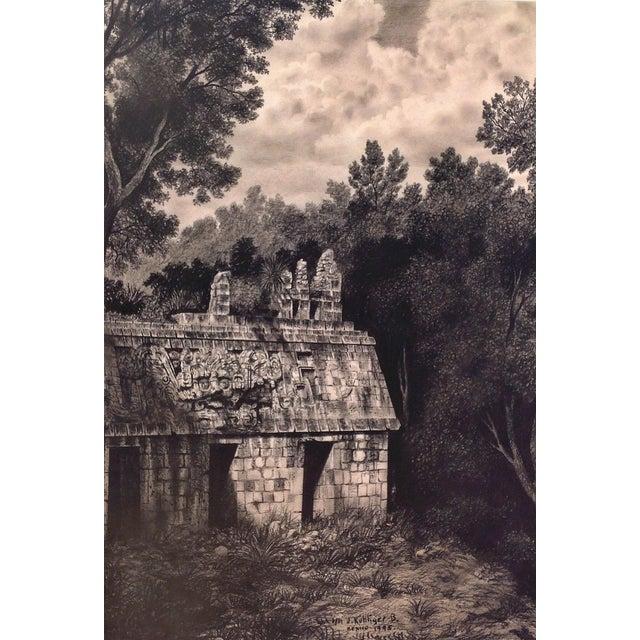 """Illustration of Mayan Ruins, """"Habitat Maya No.8"""" For Sale - Image 4 of 4"""