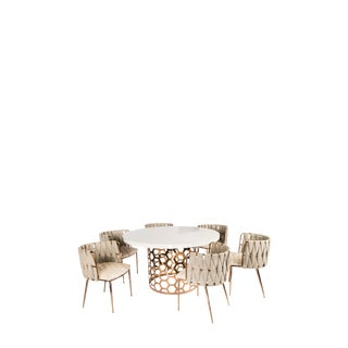 Contemporary Laguna Gold and White Dining Set - 7 Pieces For Sale