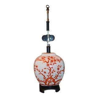 Vintage 1960s Asian Ceramic Coral/Orange Blossoms Lamp For Sale