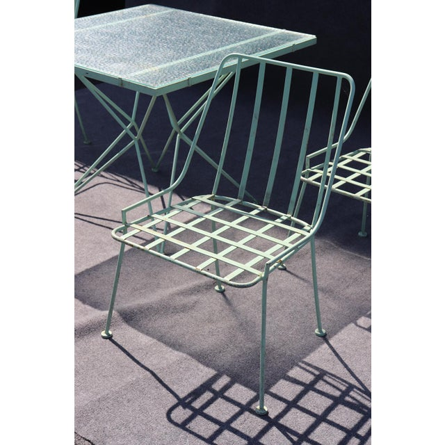 Blue Woodard 5pc Atomic Style Wrought Iron Patio Set For Sale - Image 8 of 10