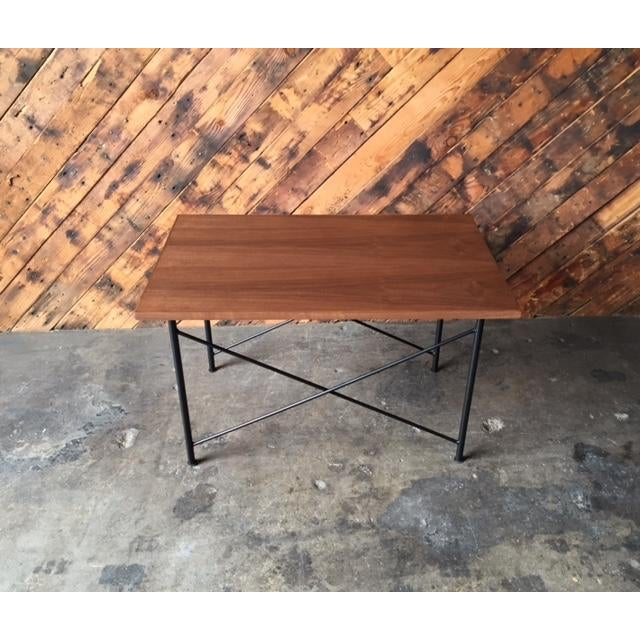 Custom Mid Century Style Walnut Wrought Iron Side Coffee Table newly handmade in LA, walnut wood top, wrought iron base,...