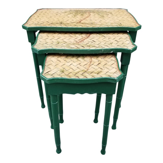 Vintage Cane Wicker & Painted Wood Palm Tree Motif Nesting Table - Set of 3 For Sale