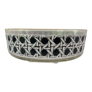 Midcentury Black & White Cane Design Whit Gold Rim Glass Serving Bowl For Sale