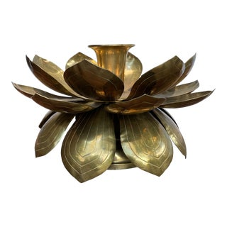 Brass Lotus Candle Holder For Sale