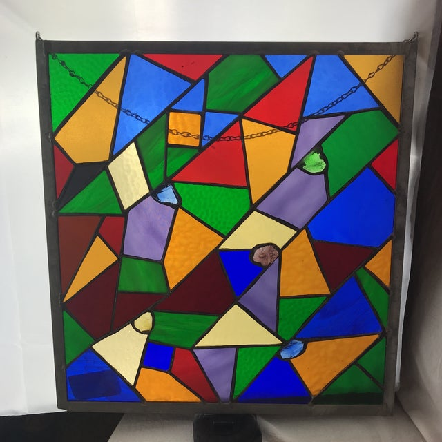 Crystal Square Rainbow Stained Glass For Sale - Image 7 of 7