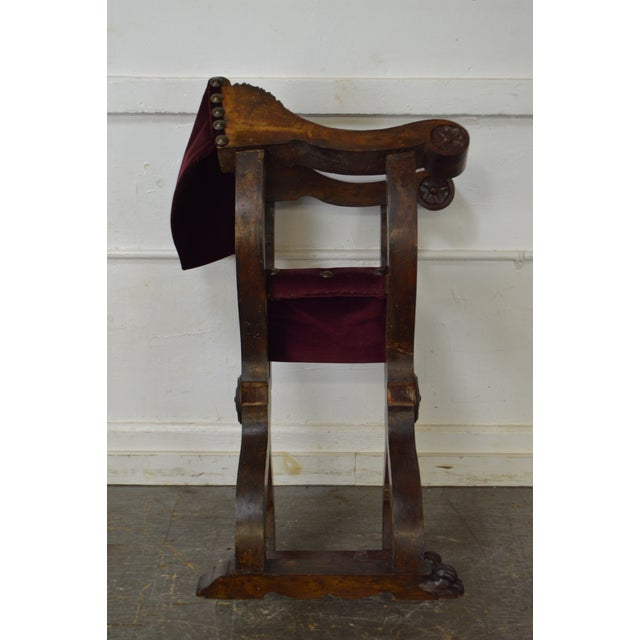 Antique 18th Century Italian Walnut X Form Savonarola Arm Chair - Image 5 of 10