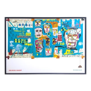 "Jean Michel Basquiat Estate Rare 1999 Collector's Iconic Lithograph Print Large Framed Tony Shafrazi Gallery Poster "" Mitchell Crew "" 1983 For Sale"