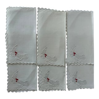 Set of 6 Rooster & Hen Embroidered Cocktail Napkins For Sale