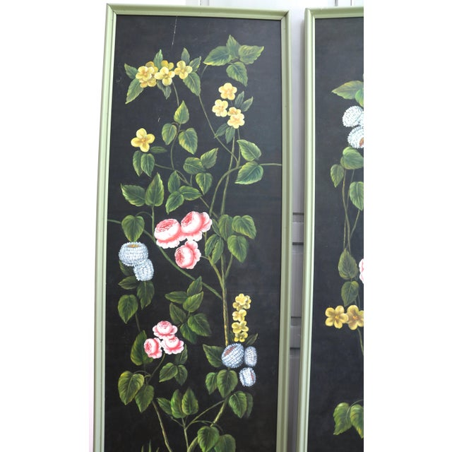 Hand Painted Screen Panels Oil on Canvas Floral Still Life - Set of 3 For Sale - Image 4 of 8