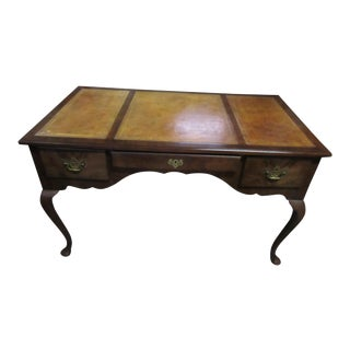 1940's Baker Furniture Company Brown Mahogany Desk English Style With Original Leather Top and Matching Chair For Sale