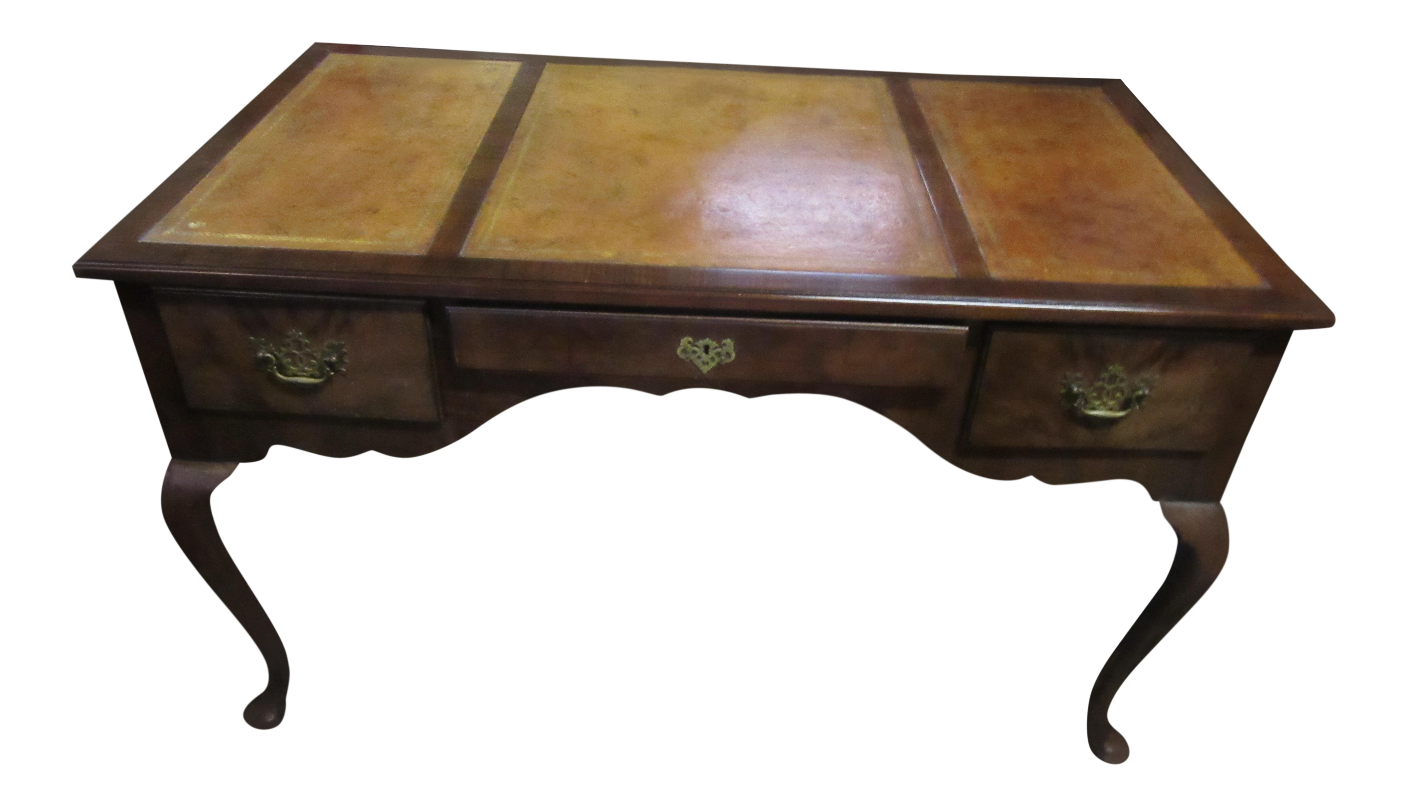 1940u0027s Baker Furniture Company Walnut Desk In The English Style With  Original Leather Top And Matching