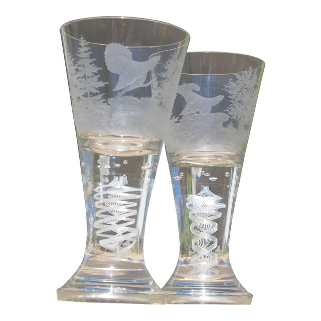 19th C. Etched Water Goblets- A Pair For Sale
