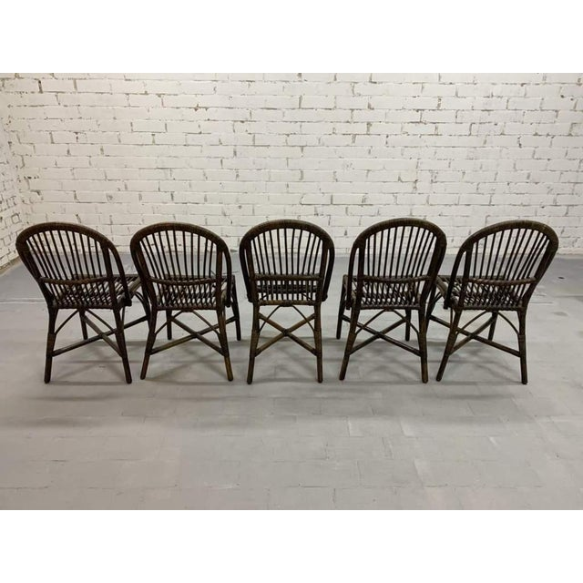 Set of 5 Italian Vintage Bamboo Patio Dining Chairs For Sale - Image 10 of 11
