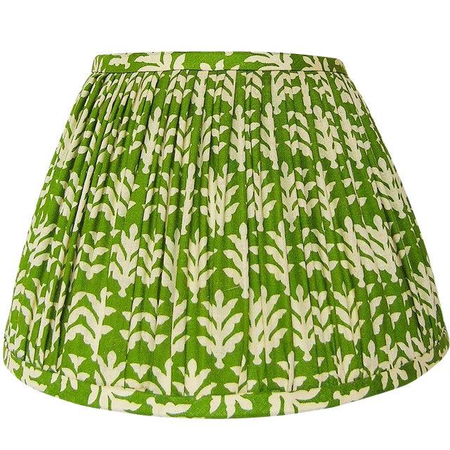 Medium Green Cotton Print Gathered Lamp Shade - Image 1 of 3