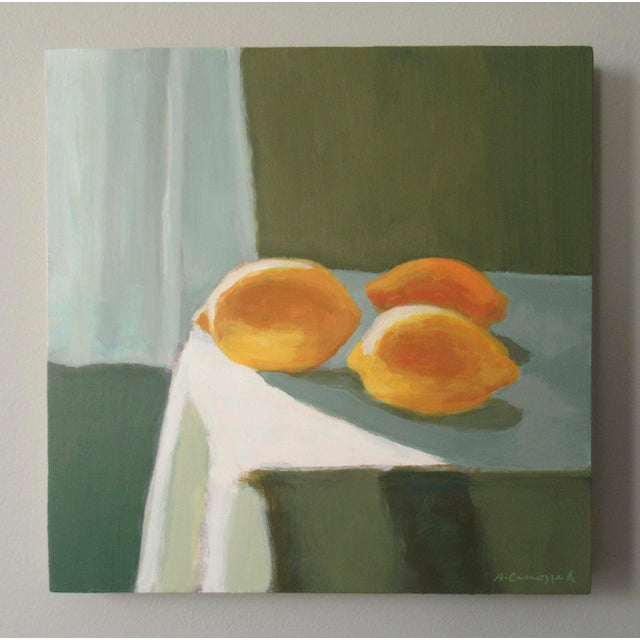 Lemons in the afternoon light. Lemons are a symbol of love, and friendship. Yellow stands for optimism. This painting has...