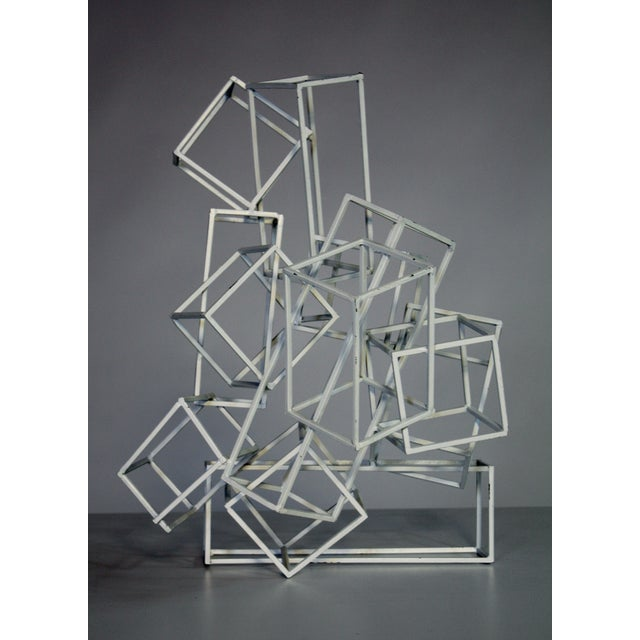 Geometric Metal Boxes Sculpture - Image 2 of 7