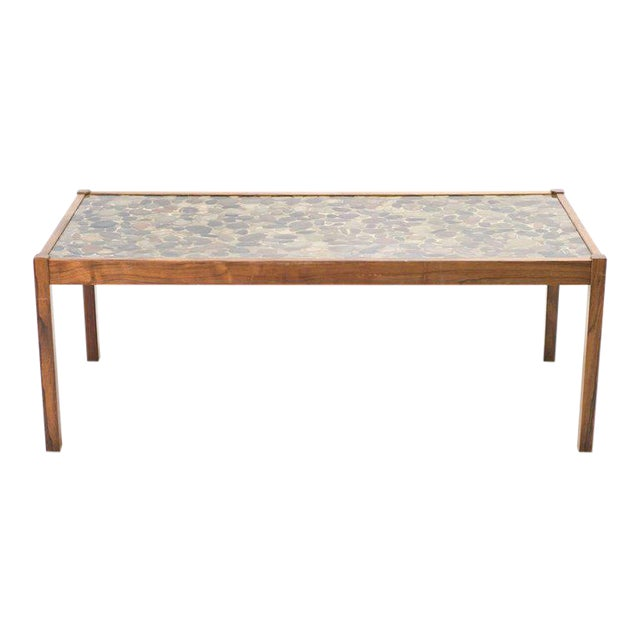 Scandinavian Modern Rosewood Table with Cast Pebbles For Sale