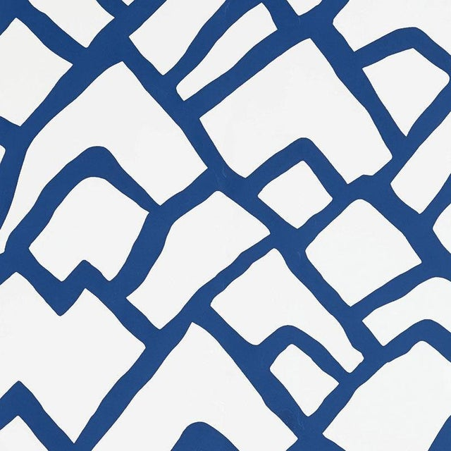 Schumacher Zimba Geometric Stripe Wallpaper in Marine Blue - 2-Roll Set (10 Yards) For Sale