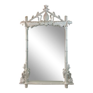 Gampel & Stoll Hollywood Regency Faux Bamboo Pineapple Mirror