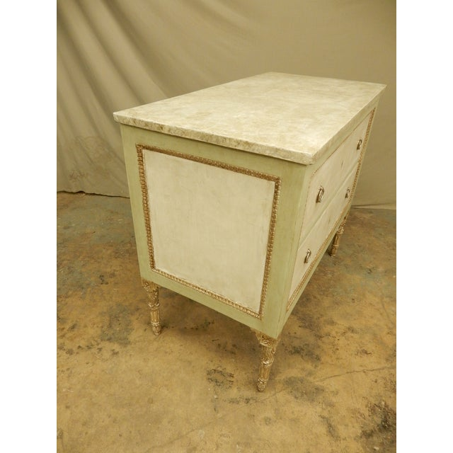 Italian Louis XVI Style Painted Two Drawer Commode For Sale - Image 4 of 8