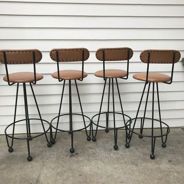 1960s Vintage Mid-Century Frederick Weinberg Style Iron Hairpin Bar Stools- Set of 4 For Sale - Image 5 of 13