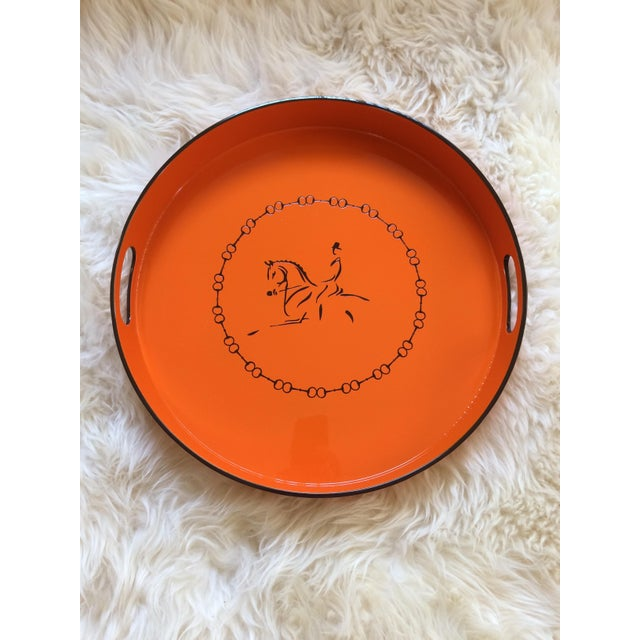 Equestrian Motif Hermes Style Orange Lacquered Serving Bar Tray For Sale - Image 4 of 11