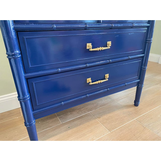 Palm Beach Chic Faux Bamboo Tall Dresser Lacquered in Navy Blue With Gold Handles For Sale In West Palm - Image 6 of 11