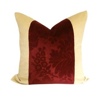 Brunshwig & Fils Cream Velvet and Vintage Burgundy Cut Velvet Down Pillow For Sale