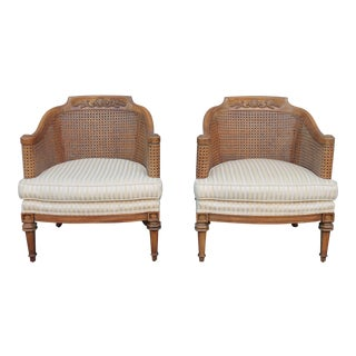 C. 1960's Vintage Thomasville Caned Side Arm Chairs - a Pair For Sale