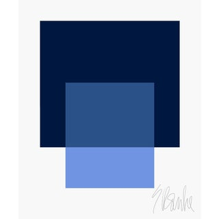 """The Interaction of Navy Blue and French Blue Fine Art Print 25"""" X 30"""" by Liz Roache For Sale"""