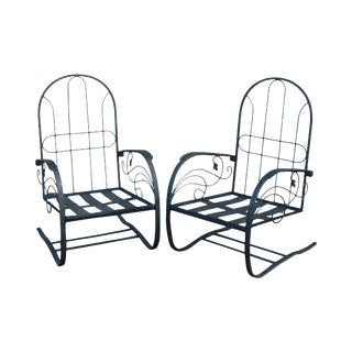 Quality Pair Vintage Black Wrought Iron Spring Base Garden Lounge Chairs For Sale