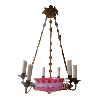 Fine 19th Century Red Bohemian Glass Chandelier With Bronze For Sale