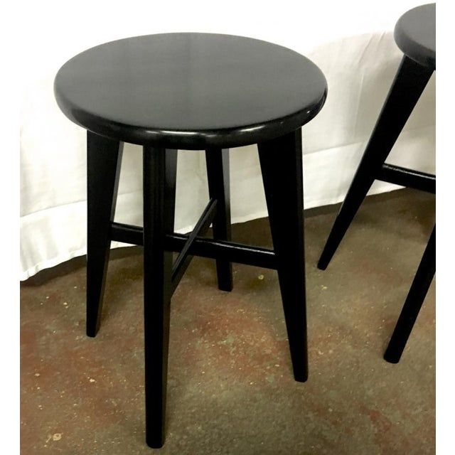Bauhaus Nice Mid Century Set of 4 Small French Black Stools For Sale - Image 3 of 5