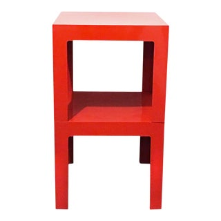 Pair of Vintage Red Plastic Parson Tables by Syroco For Sale