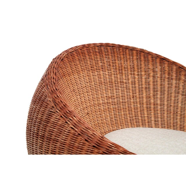 White Isamu Kenmochi Rattan Lounge Chair For Sale - Image 8 of 13