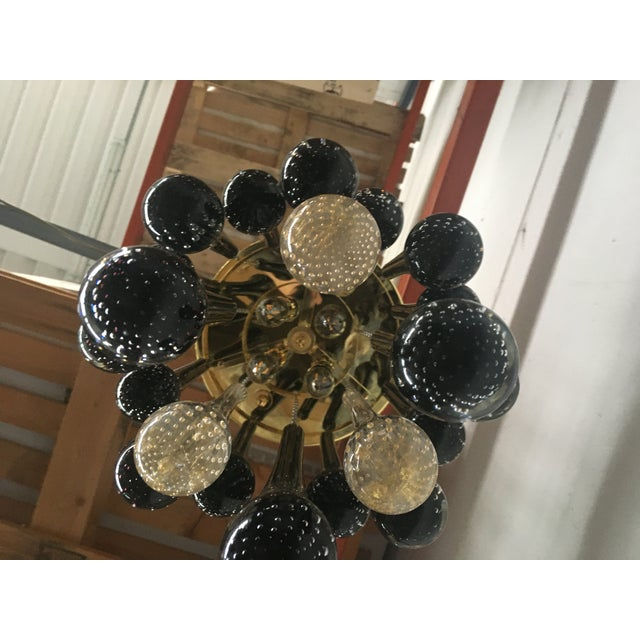 Murano Glass Big Drops Black and Gold Sputnik Chandelier For Sale - Image 11 of 12