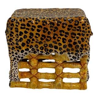 Leopard Print Italian Terracotta Garden Seat Drinks Table For Sale